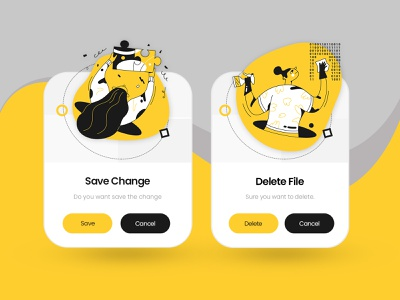 Pop Up: Save File and Delete File branding master gradients trending popup illustration dribbble product app colorful website design ui modern creative interface master creationz