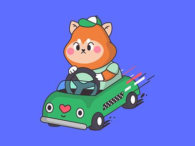 Dog Driving driving taxi taxi driver driver shiba inu shiba racing racer race kart dogs dog dog illustration