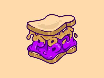 PBJ sandwich jelly butter peanut pbj illustration dribbble vector design