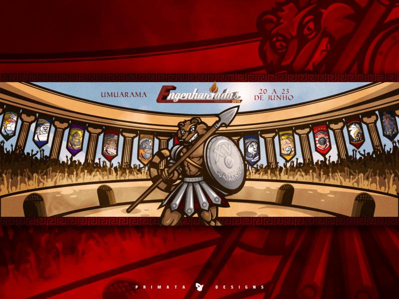 Warriors of XV armory fight war illustrations vector artwork vector art vector brand design illustration coliseum gladiator warrrior quati coati