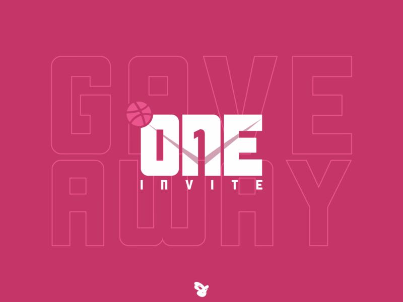 One Dribbble 2 dribbble invite typography dribbble vector art vector logo design one invite invite giveaway invites invitation invite one