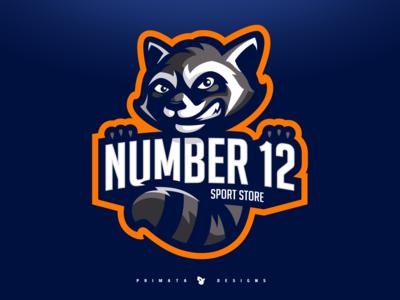 Number 12 - Raccoon logo