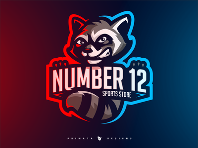 NUMBER 12 - Raccoon Logo sport logo esport vector artwork sportlogo esports vector art vector mascot logo mascot logo design bandito bandit raccoons raccoon