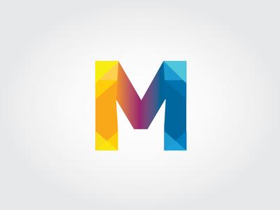 M Decorated m letter triangles logo design