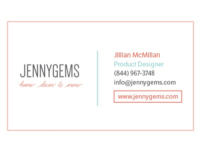 JennyGems Business Card, Front card business