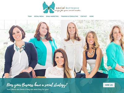 Social Butterfly - web design home page web design
