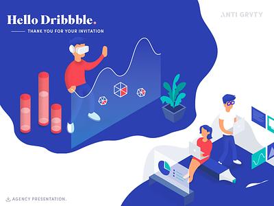 Hello Dribbble ux ui design studio agency invites illustration hello first dribbble
