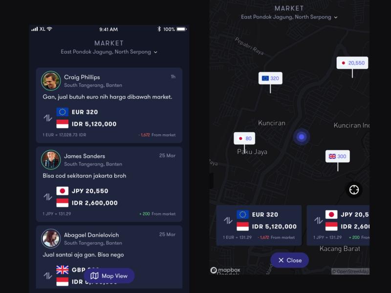 List & Map View financial dark app map view list view design ux ui