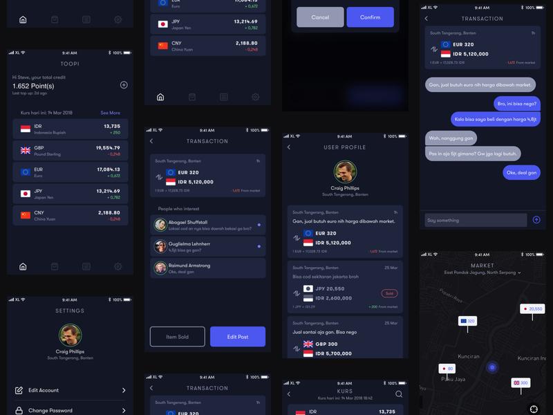 Money Changer On The Go Design Concept financial ios mobile app dark app ux ui