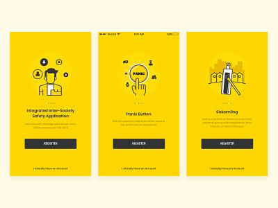 Walkthrough Exploration ui  ux ui mobile app yellow walkthrough illustration