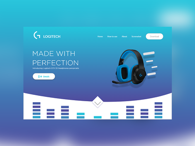 Logitech Web UI headphone blue website technology ui
