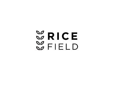 Rice Field typography logo art unique design factory company farmers village market shopping rice shop shop farmers market branding fresh design graphic  design vector minimalist field rice logo