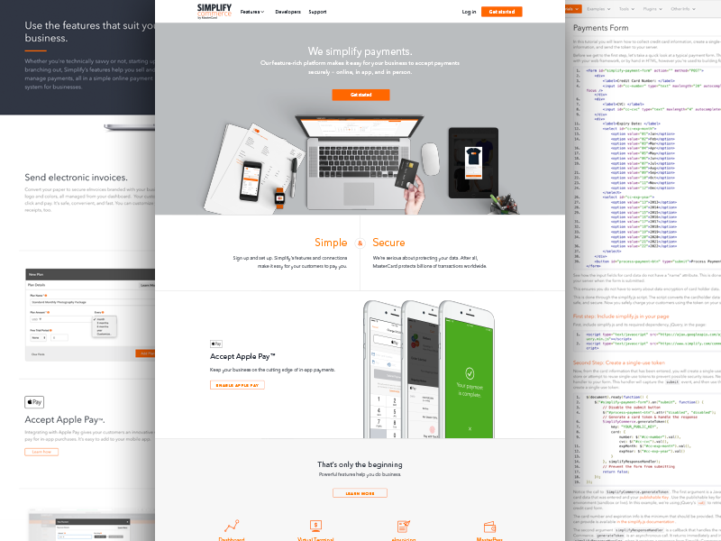 Simplify Commerce Marketing Redesign landing page marketing payments features docs minimal clean ui web