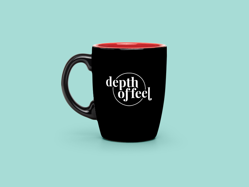 Depth of Feel Concept 02 playful circle mug identity lockup playfair serif wordmark logo