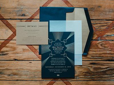 Wedding Invitations foil stamp art deco invitation wedding