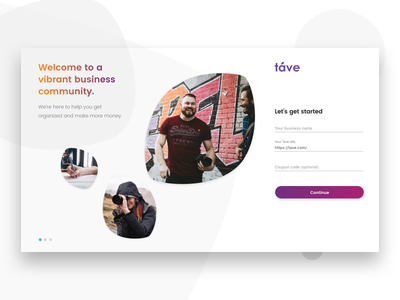 Táve Signup #dailyui001 tave register colorful web sign up dailyui