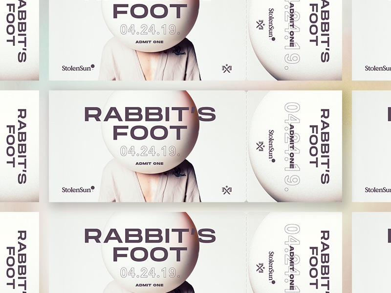 Rabbit's Foot Premiere Ticket design event typography print ticket
