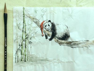Happy New Year! brush ink rice paper bamboo chinese 2016 newyear2016 xmas christmas new year panda