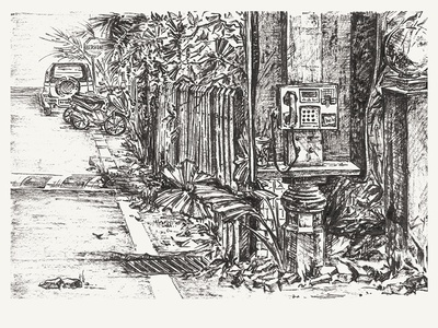 Vintage phone booth  patios phone brush pen black and white asia malaysia graphic hand drawn inking ink