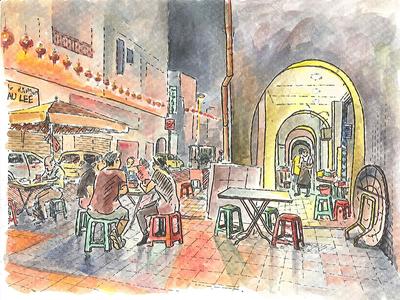 Twilight time urban sketch restaurant cafe streetfood chinatown patios street city watercolor evening urbansketching