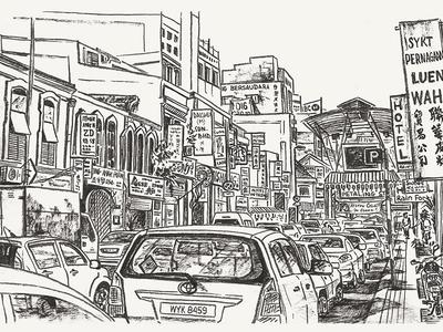 Traffic jam on Petaling street kuala lumpur chinatown urbansketching street urban city inking black and white hand drawn