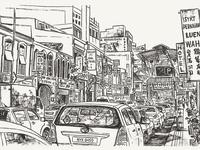 Traffic jam on Petaling street