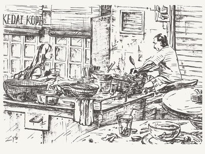 Cafe by the road fine art monochrome malaysia cafe streetfood ink illustration hand drawn asian postcard everydaylife drawing
