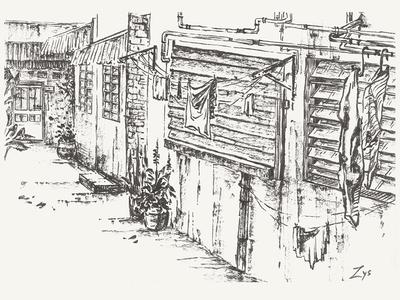 Lifestyle everydaylife fine art monochrome ink illustration hand drawn backyard asian black and white postcard sketch drawing