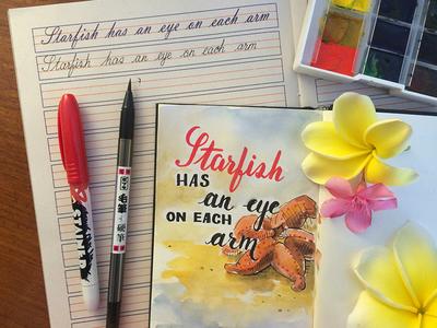 Practice sharpie sketch cursive writing typography script starfish lettering illustration custom type calligraph