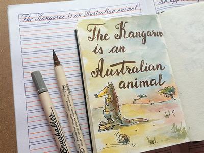 Kangaroo typography kangaroo sketch watercolor script lettering illustration custom type cursive writing calligraphy