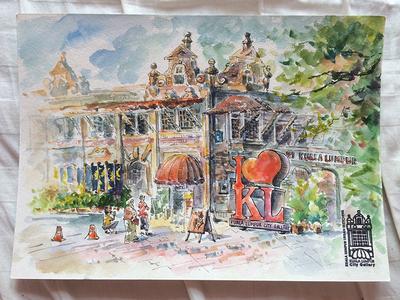 Sketchcrawl kuala lumpur architecture city urban paper fine art urbansketching sunny painting watercolor