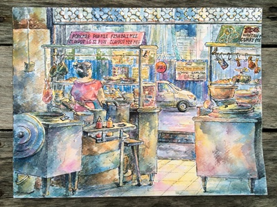 Cosy noodle-shop  cooking asian food city urban paper fine art urbansketching restaurant painting watercolor
