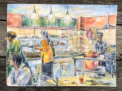 Curry house  eatery curry cooking asian food city urban paper urbansketching restaurant painting watercolor