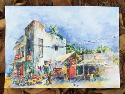 Countryside scene  lifestyle village indian paper painting watercolor