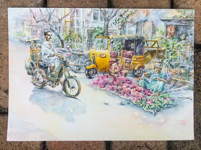Lotus dealer fineart bike morning flowers rickshaw lifestyle indian paper painting watercolor
