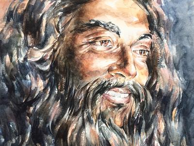 Beard man smile eyes man face beard portrait paper painting watercolor