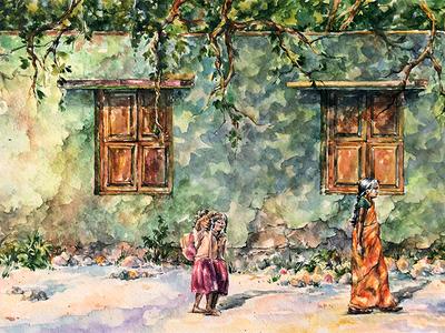 Saffron-green noon rural green orange lifestyle village indian paper painting watercolor