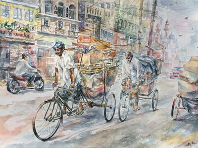 Rickshaw asia city road rickshaw lifestyle indian paper painting watercolor