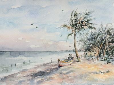 Shanti  seashore palm tree boat peaceful seascape paper painting watercolor