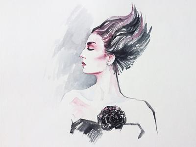 Fashion Portrait sketch watercolor painting paper ink hand-drawn portrait illustration