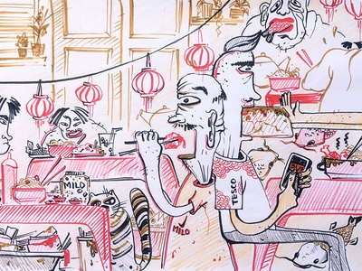 Food Court noodles asia markers streetfood foodcourt sketching illustration