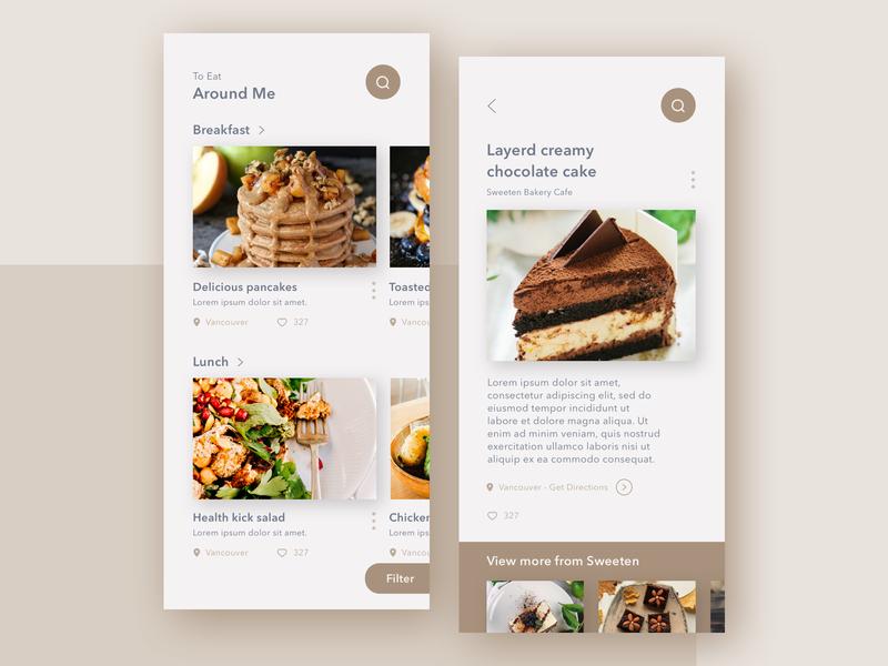 To eat around me - Concept App craft smell city food ux app ui concept app design concept