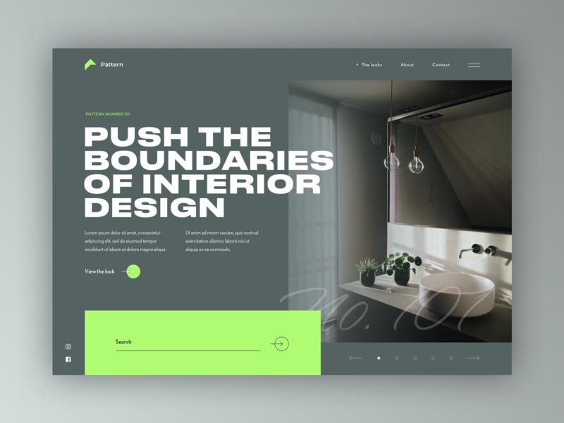 Interior design landing page concept print clean ux page daily prompt sketch design landing concept ui