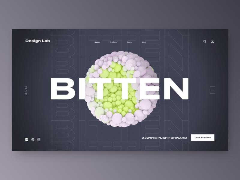 Bitten Landing Page sphere orb material 3d daily concept design landing ui cinema4d