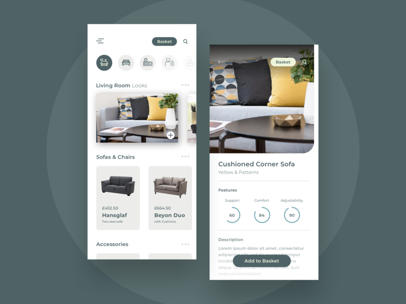 Furniture Store App appdesign product design prompt photography minimal simple clean interface simple store ecommerce uiux ui concepts ikea seat concept app furniture