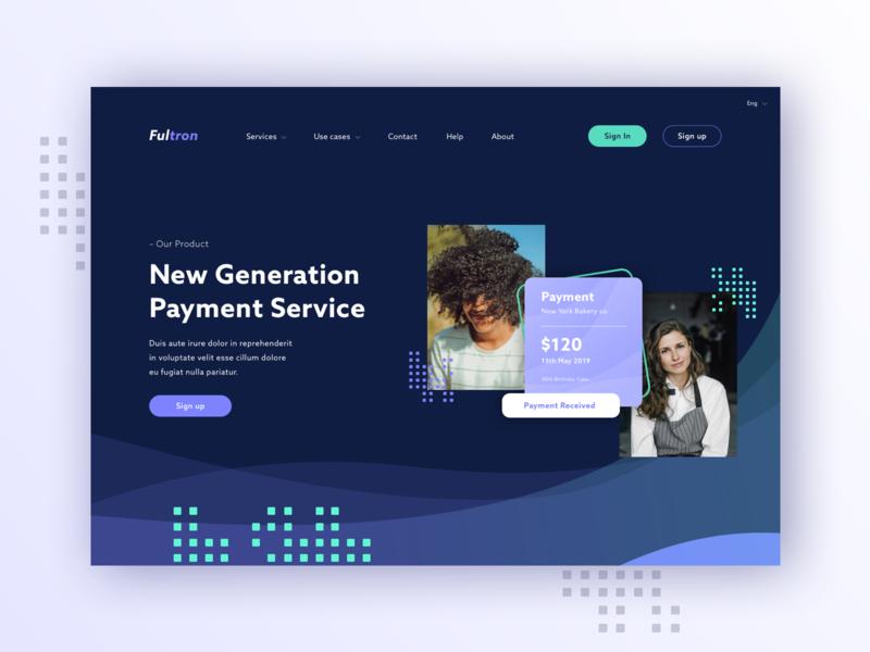Payment Service interface purple ux uiux finance fintech landing concept ui