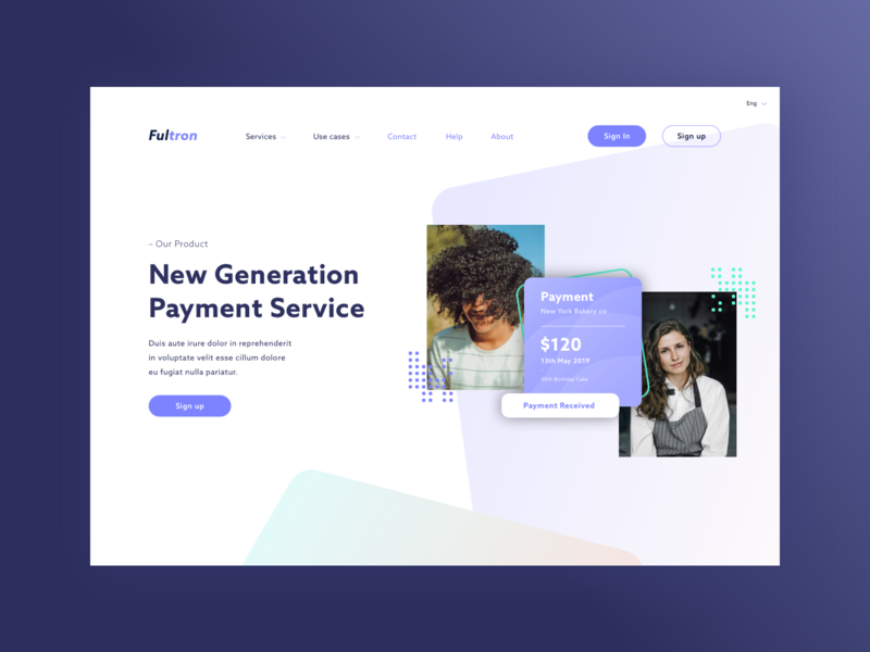 Payment Service alternate clean marketing page landing interface uiux ui fintech finance concept