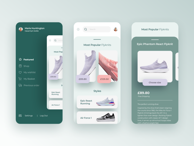 Card Based Shoe App interaction design userexperiance userinterface appdesign nike uxui ui ux design app green shoe design framer x