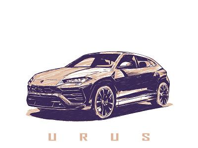 Lamborghini Urus illustration graphic style vintage modern suv 4x4 vector scalable auto car urus lamborghini