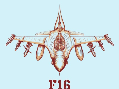 F16Fighter vector scalable mach pilot rocket bomb army war airplane plane jet fighter f16